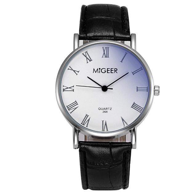 MIGEER Fashion Luksoze Krokodili Faux Lëkurë Mens Analog Watch Orë - Ora për meshkuj