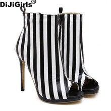 DiJiGirls Mujeres otoño sección de alto estado sexy correas cruzadas botas de pescado rayas sandalias de mujer zapatos de tacones altos está instalado