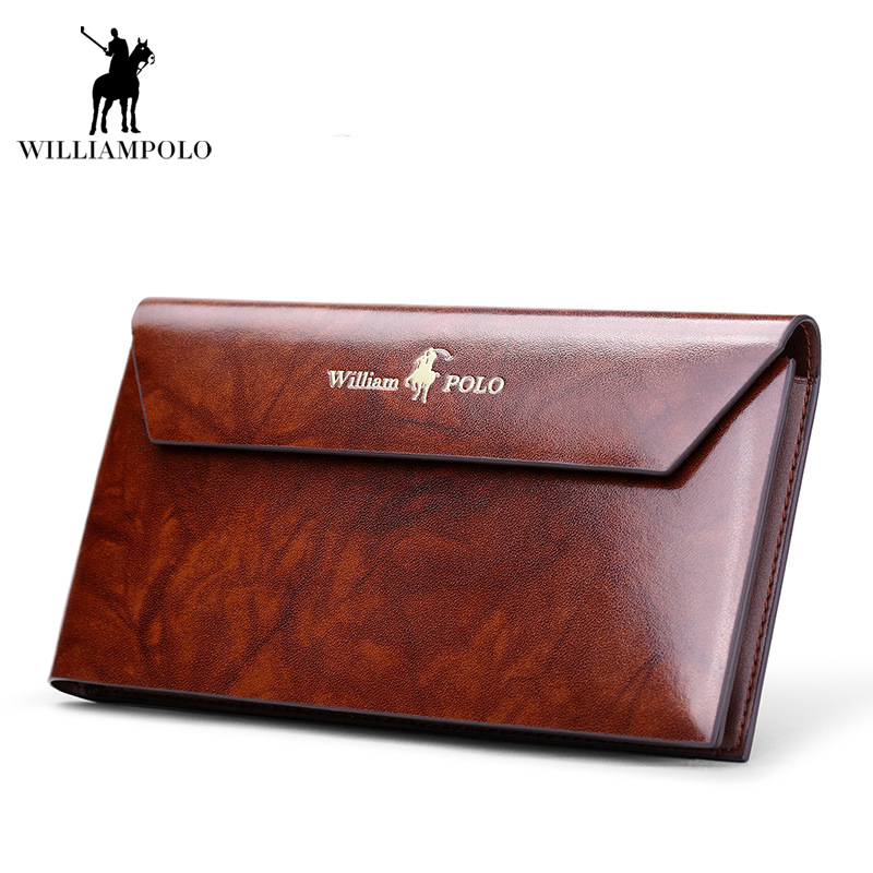 High Quality 2018 NEW Vintage Business Bag Men Wallet Clutch Bags Long Genuine Leather Wallet Luxury Brand Male 10 Card Wallets new oil wax leather men s wallet long retro business cowhide wallet zipper hand bag 2016 high quality purse clutch bag