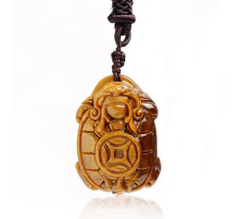 Natural Yellow Tiger eye Pendant Carved Chinese Dragon Turtle Necklace Lucky  Amulet Bring Wealth Men Jade Jewelry With Rope