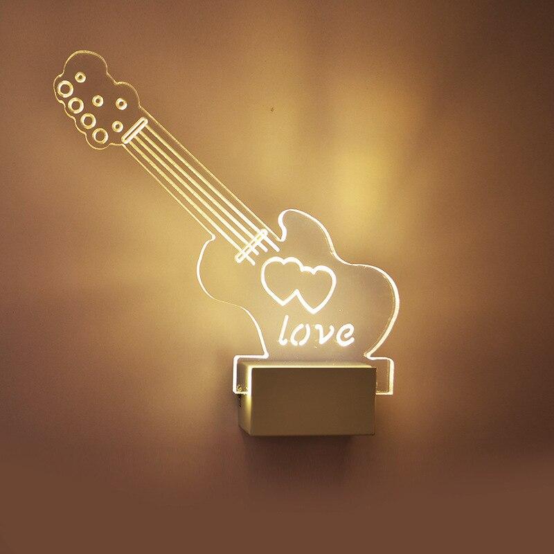 Гитара Акриловые СВЕТОДИОДНЫЕ Стены Лампы спальня 3D Ночь свет гостиная огни Свадебные украшения B6006