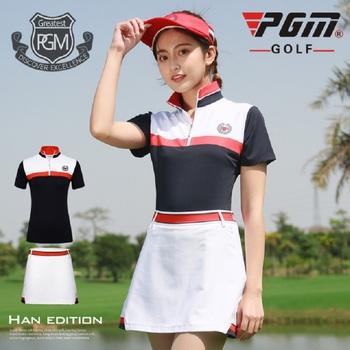 Pgm Golf kobiety odzież zestaw koszule z krótkim rękawem A-line komplety spódniczek Slim oddychająca odzież sportowa Golf tenis garnitury AA60482 tanie i dobre opinie COTTON WOMEN Suknem Szybkie suche Pasuje prawda na wymiar weź swój normalny rozmiar