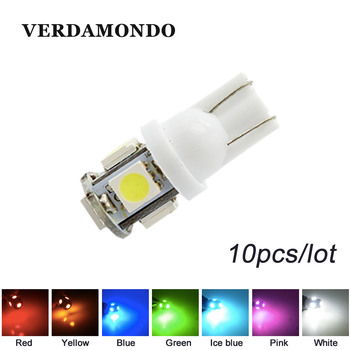 10X T10 W5W 194 168 Car Light 5050 SMD Led Parking Bulb Auto Wedge Clearance Lamp Red White Ice Blue Yellow Pink Green 12v image