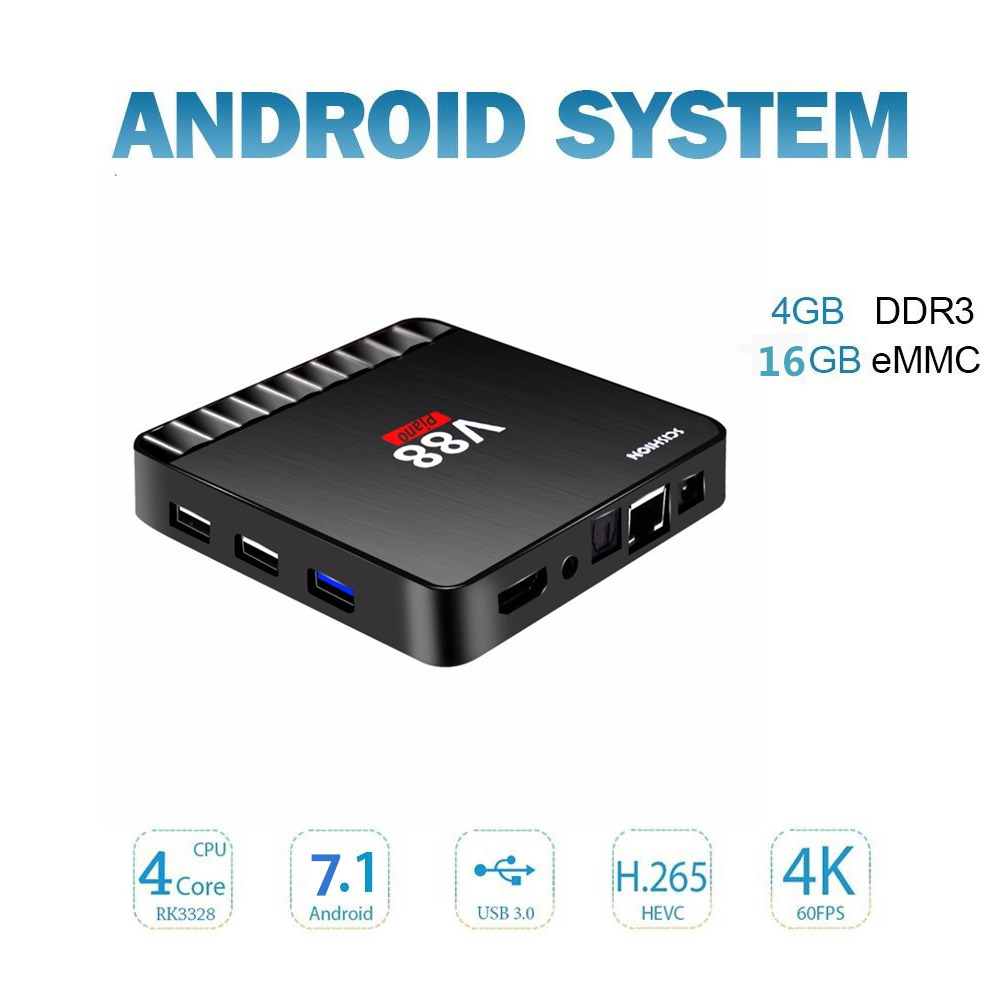 leelbox V88 Piano Android TV Box 4GB RAM 16GB ROM RK3328 Quad Core 4K Smart TV Box Android 7.1 USB 3.0 Set-top Box media player himedia m3 quad core android tv box home tv network player 3d 4k uhd set top box free shipping