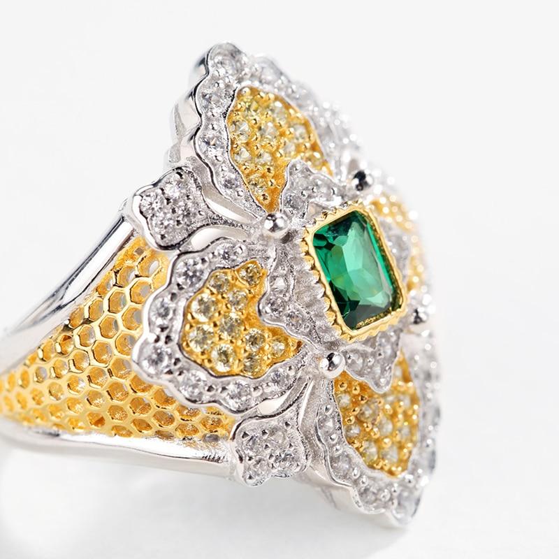 CMajor bijoux en argent massif Vintage palais croix anneaux floraux avec bague en pierre verte pour les femmes - 2