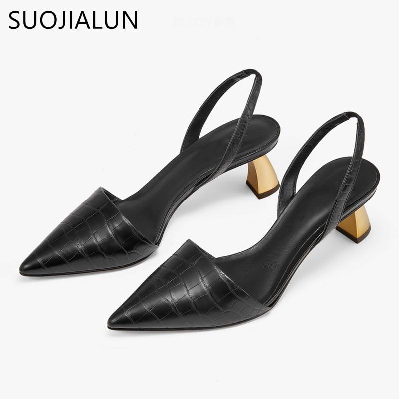 SUOJIALUN 2019 New Brand Women Pumps Sandals Elegant Square High Heels OL Ladies Shoes