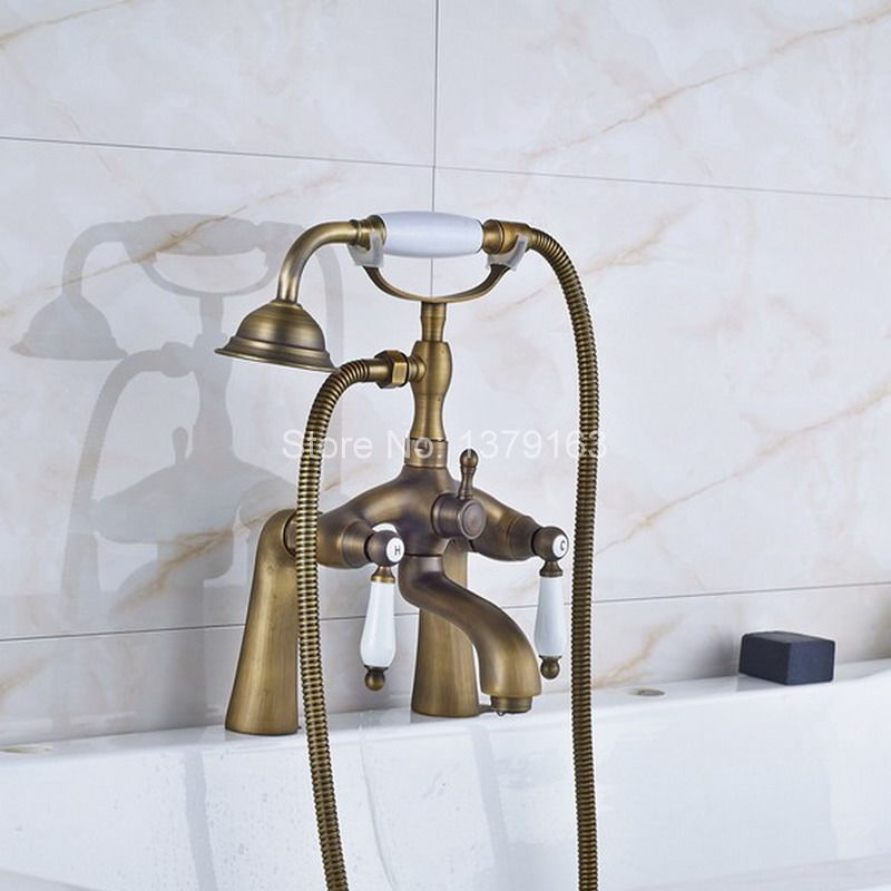 Antique Brass Deck Mounted Bathroom Tub Faucet Dual Ceramics Handles Telephone Style Hand Shower Clawfoot Tub Filler aan008 antique brass wall mounted bathroom tub faucet dual ceramics handles telephone style hand shower clawfoot tub filler atf018