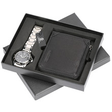 Classic Men Stainless Steel Watches + Black Leather Wallet Luxury Gift Set Men Clock For Boyfriend Father Christmas Gifts 4pcs men black gift set fashion belt sunglasses watch keychain birthday box alloy boyfriend colleague father gift set present