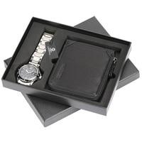 Mens Wrist Watch with Leather Men Black Wallet Holder Luxury Brand Short Zip Coin Purse Wallet Anniversary Gift Sets for Men Dad