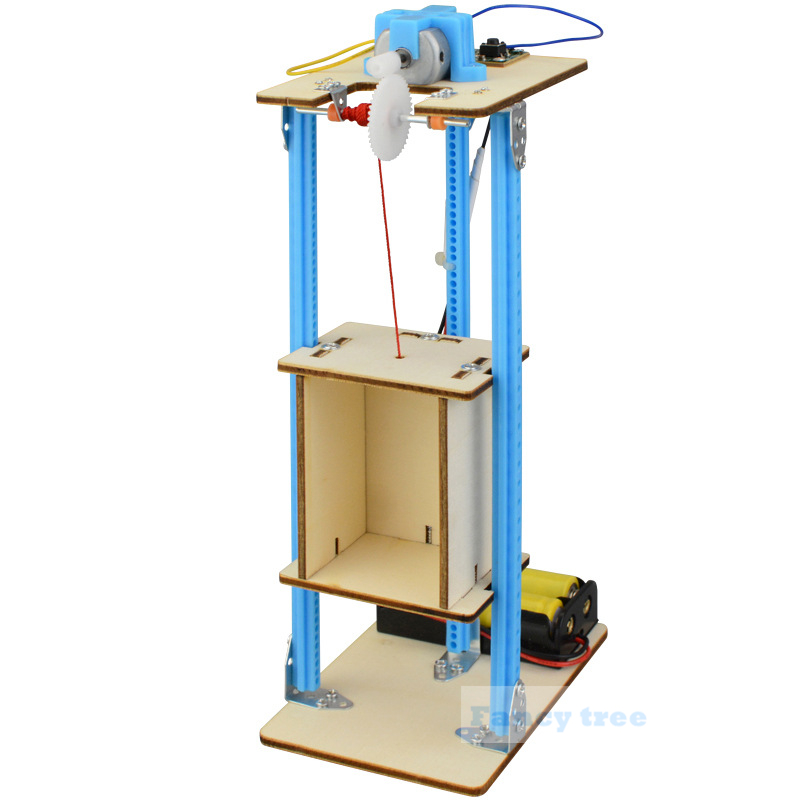 Science Experiment DIY Wood Electric Lift Kids Toy Child Physics Toy education Electric Lift Toy