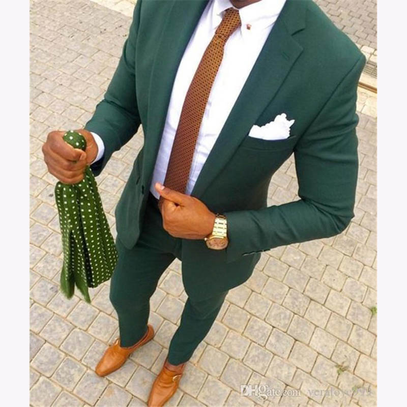 Handsome Terno Masculino Green Men Casual Suit Set Slim Fit 2 Piece Tuxedo For Mens Groom Wedding Suits Custom Prom Blazer 2018