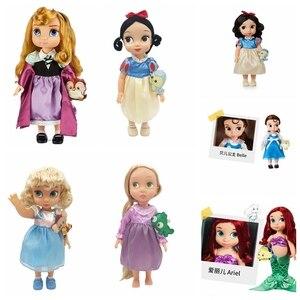 Princesa Disney de alta calidad, Ariel Aurora, bella Cinderella, Rapunzel, Blancanieves, niñas, ángeles, muñeca Original para regalo de niños