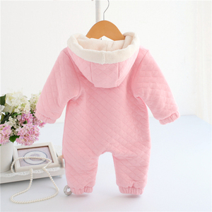 Image 2 - newborn baby girl winter clothes suit fleece coral cotton padded baby rompers thick warm with hood 0 1 year Casaco de inverno