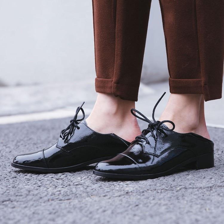 Mulheres Flats 2019 Couro Genuíno Estilo Britânico Sapatos Oxford Mulheres Oxfords Primavera Calcanhar Plana Sapatos Casuais Rendas Até As Mulheres Sapatos - 6