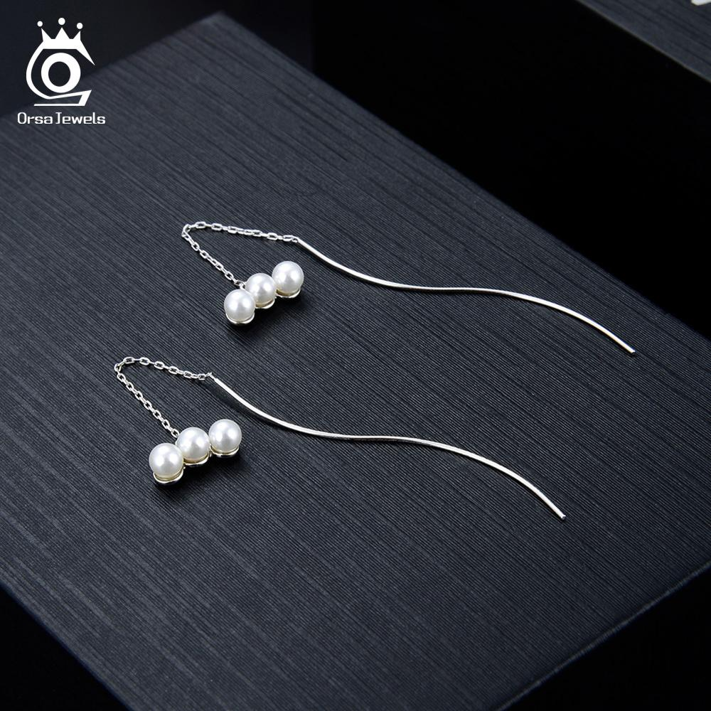 ORSA JEWELS 925 Sterling Silver Women Earrings Link Chain With Top Quality Shell Pearl Drop Long Earring S Shape Jewelry OSE151 in Earrings from Jewelry Accessories