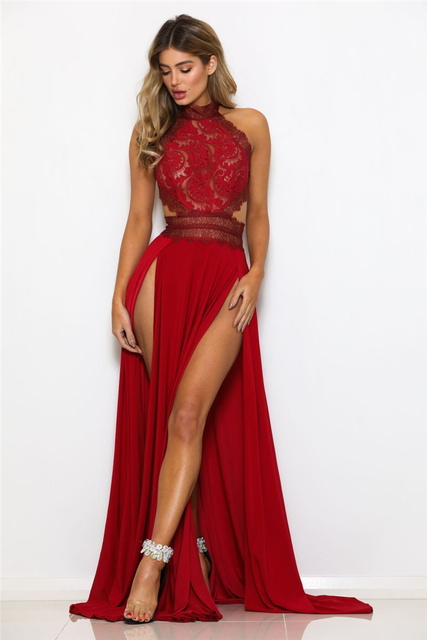 Adogirl Women Sexy Sheer Lace High Slit Maxi Evening Party Dresses Backless Summer Beach Dress Female Night Club Long Vestidos 1