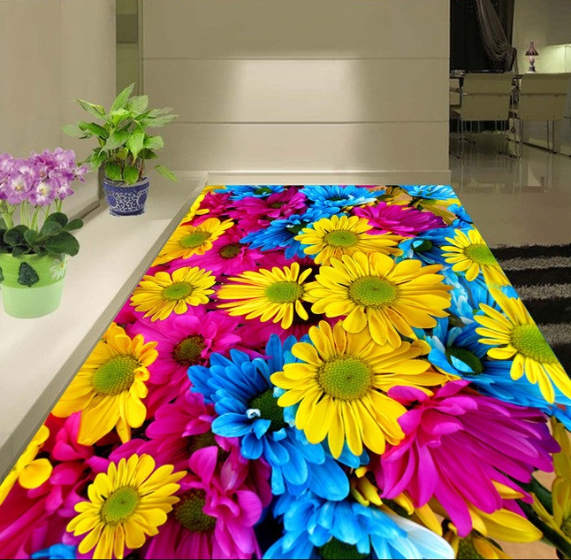 3 d pvc flooring custom wall sticker 3d sunflowers flowers plants 3d bathroom flooring painting photo wallpaper for walls 3d 3d flooring waterproof wall paper custom 3d flooring wooden bridge water self adhesive wallpaper vinyl flooring bathroom