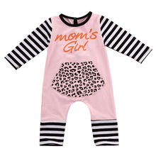 Newborn Baby Girls Clothes Cotton Long Sleeve Leopard Striped Romper Jumpsuit Baby Clothes Outfits