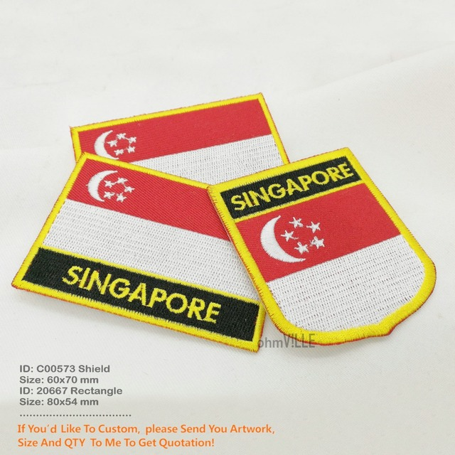 Custom Embroidery Patches Singapore Patch Flag Embroidered Customization For Clothing Applique ...