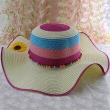 Summer Ladies Beret Sun Flower Contrast Stitching Straw Weave Hat New Sweet Soft Princess Rainbow Sunscreen Beach