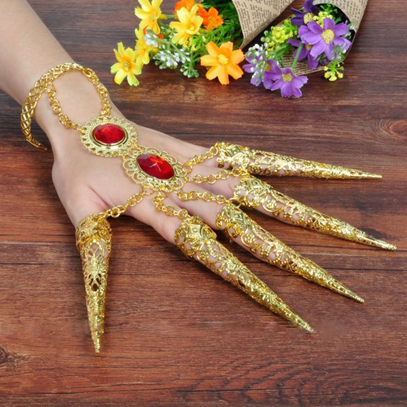 Thousands Hands Guanyin India Dancewear Bollywood Fingernail Accessories Dance Gold Jewelry Bracelets (set Include Two)