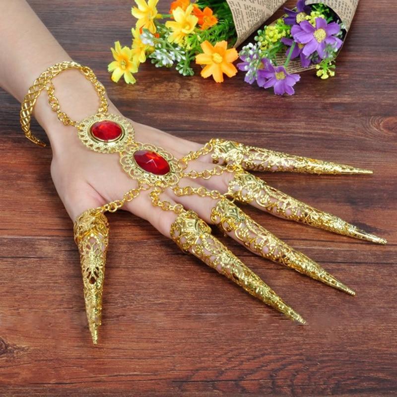 Tusentals händer Guanyin Indien Dancewear Bollywood Fingernail Accessoarer Dans Guldsmycken Armband (set innehåller två)