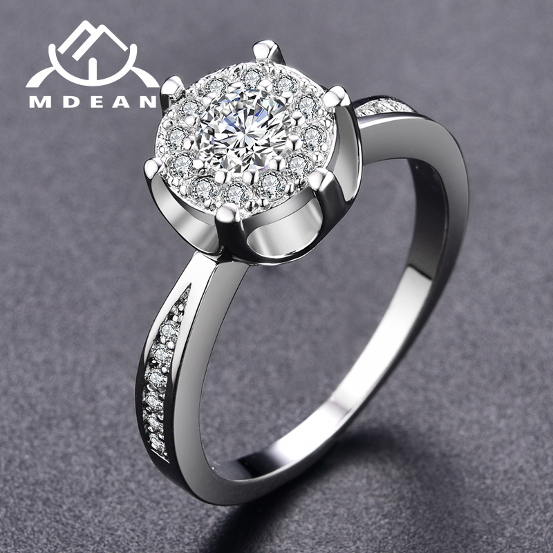 MDEAN White Gold Color Rings For Women AAA Zircon Jewelry wedding bijoux engagement bague trendy accessories Size 6 7 8 9 MSR093