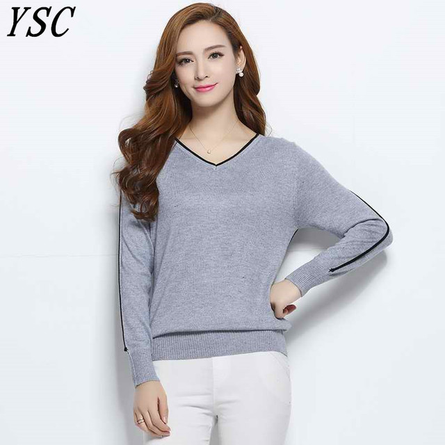 e642863ac0 YUNSHUCLOSET Cashmere Blend V-Neck Pullovers Long Sleeve Jumpers Womens