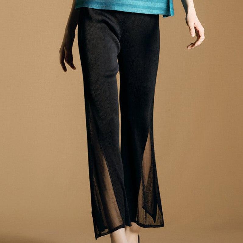 LANMREM 2019 autumn new casual fashion temperament women loose plus stitching mesh solid color   wide     leg     pants   TC440
