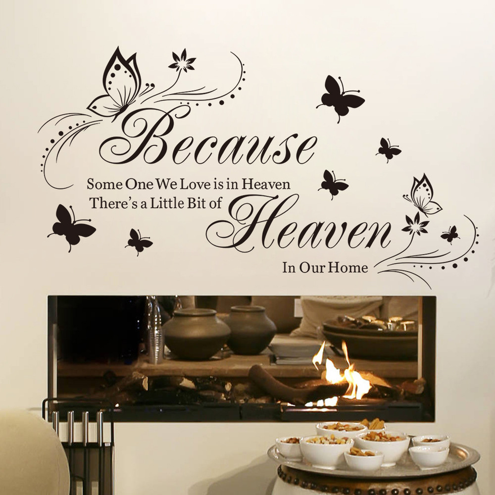 90g 8311 Foreign Trade English Becawse Generation Butterfly Carved Living  Room Bedroom Background Wall Sticker Amazon Sale In Wall Stickers From Home  ...