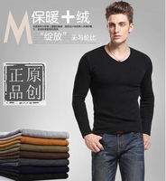 Free shipping Winter men's clothing tidal current male slim V neck plus velvet thickening black long sleeve Add wool warm