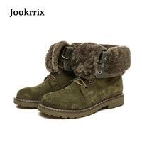 Jookrrix Winter New Western Style Fashion Boots Genuine Leather Shoes Women Camel Lady Warm Shoe Cross