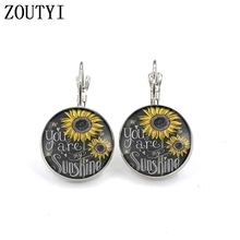 New/glamour retro style sunflower flower photo earrings, convex and concave glass ladies earrings.