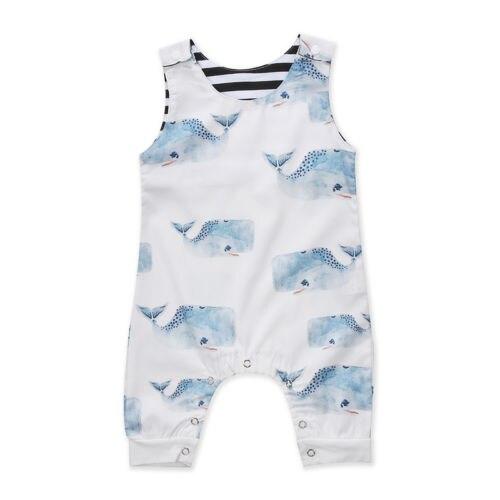 Newborn Infant Baby Boys Girls Whale Romper Jumpsuit Outfit Clothes Set