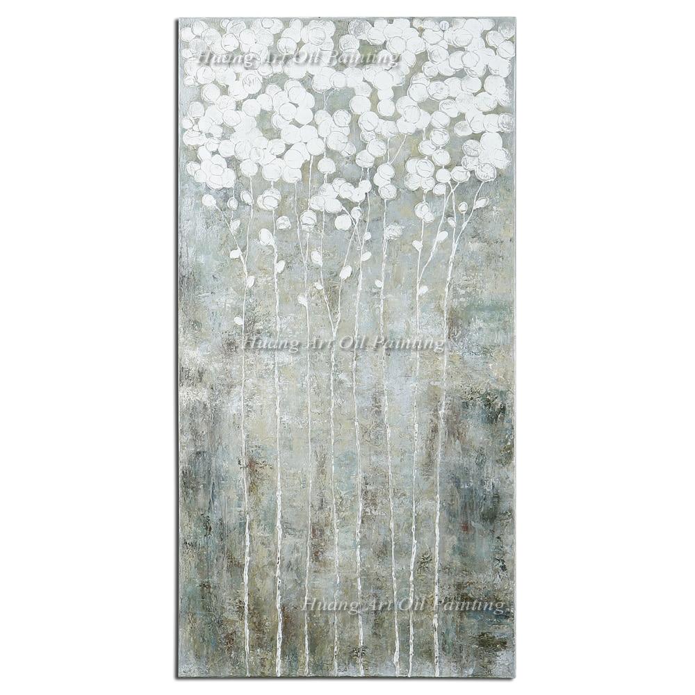 Neue Handgemalte Moderne Abstrakte Baum Ölgemälde Wanddekor Landschaftsmalerei Auf Leinwand Für Wohnzimmer Weiße Dekoration