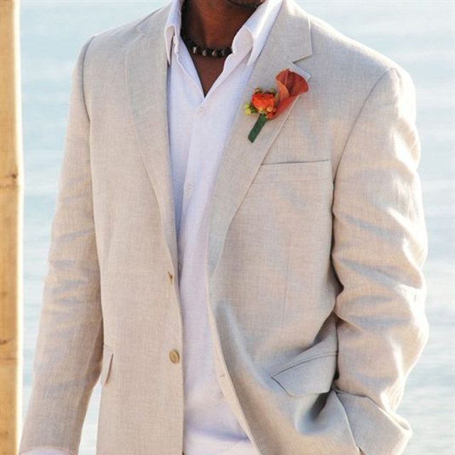 Online Shop Light Beige Linen Suits Beach Wedding Tuxedos For Men ...