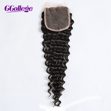 CCollege Hair Brazilian Remy Hair Deep Wave Lace Closure free part 4*4 bleached knots swiss lace Human Hair Closure