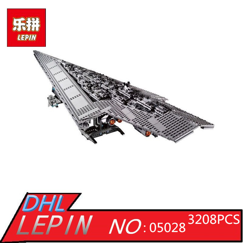 3208PCS LEPIN 05028 Star Series Wars Imperial Star Destroyer Model Action Building Blocks Bricks Compatible 75055 Children Toys 05028 star wars execytor super star destroyer model building kit mini block brick toy gift compatible 75055 tos lepin