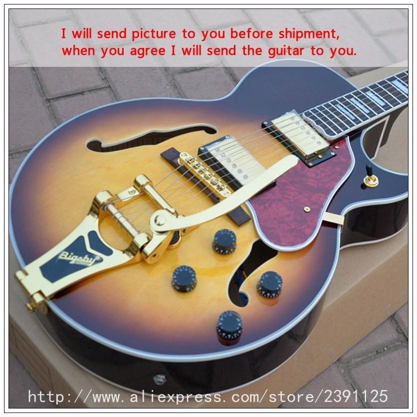 new brand custom shop 175 style guitar vintage sunburst color high quality complete hollow body. Black Bedroom Furniture Sets. Home Design Ideas