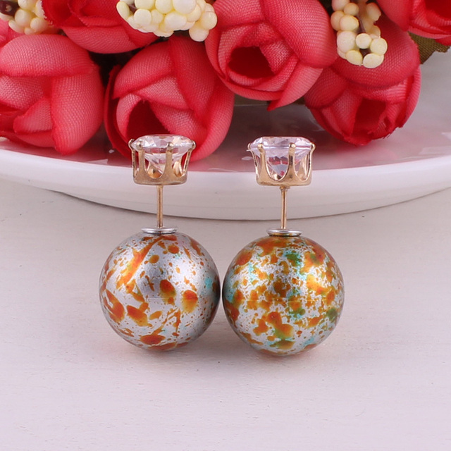 Shining Ball/Gold Crown Double Pearl Earrings