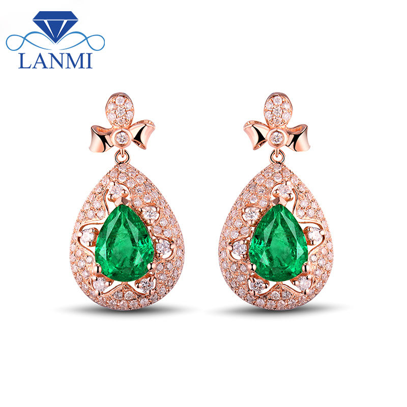 Romantic Solid 18K Rose Gold Green Emerald 6x8mm Pear Cut Gemstone Diamond Wedding Earrings Wholesale Fine Jewelry WU267