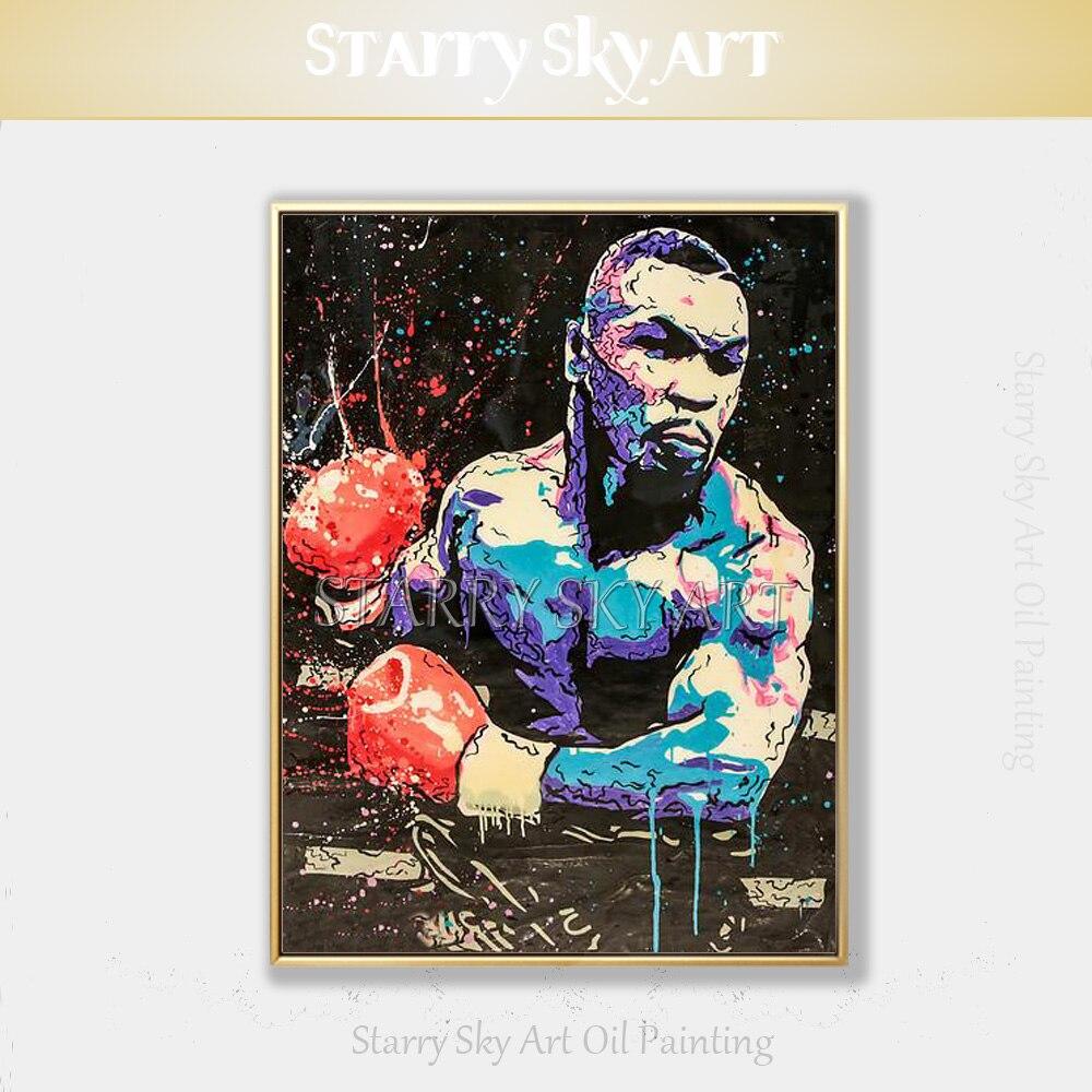 Artiste d'art populaire peint à la main Figure abstraite moderne Mike Tyson peinture à l'huile sur toile boxe roi Mike Tyson peinture à l'huile