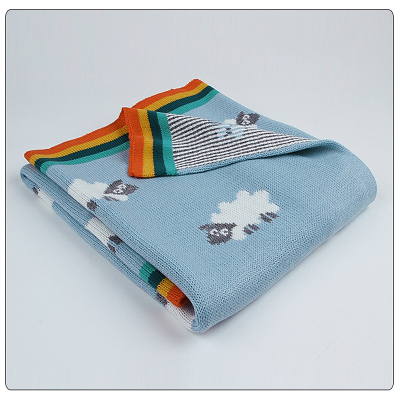 Knitted Blue Grey Sheep Rainbow Super Soft Acrylic Baby Blanket Baby Knitted Blanket Kids Back Seat Cover Baby Stroller Cover