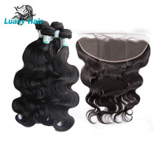 Luasy Brazilian Body Wave Human Hair Bundles With Closure 100% Remy Hair Weaves 4 Bundles With Lace Frontal 13X4 Ear To Ear(China)