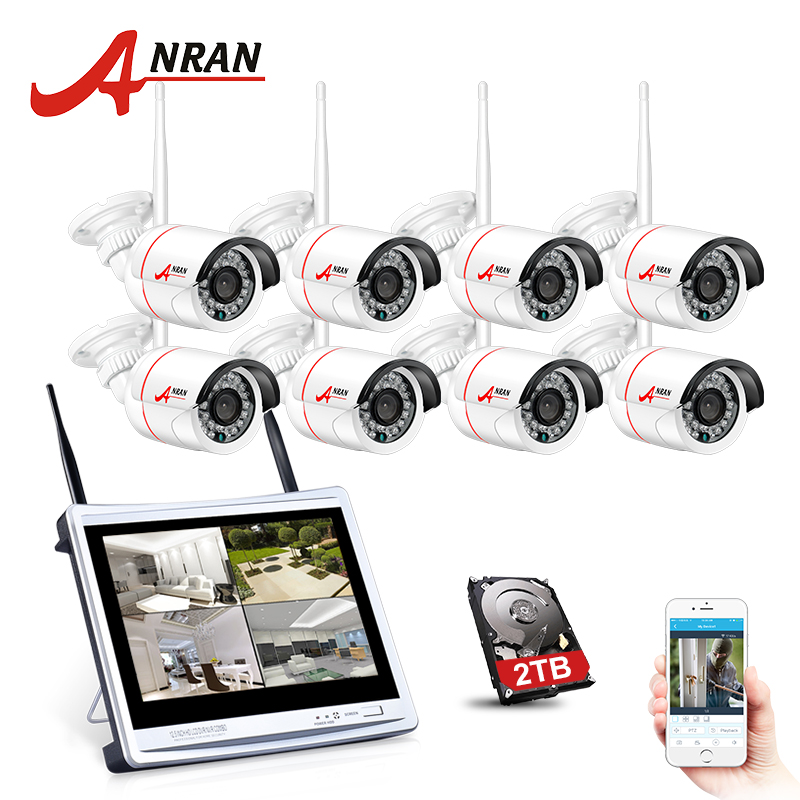 ANRAN Plug And Play 8CH Wireless Surveillance System 12LCD NVR 2TB HDD 720P HD H.264 Outdoor IP IR Night Vision Security Camera система видеонаблюдения anran security 2 hdd 8 nvr onvif 1080p hd h 264 ir ip 8ch hk02w ip2 0 4