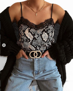 Summer Cami Women Sexy Sleeveless V Neck Leopard Print Snake Print Camis Lace Patchwork Slim Club Party Top Camisole цена 2017
