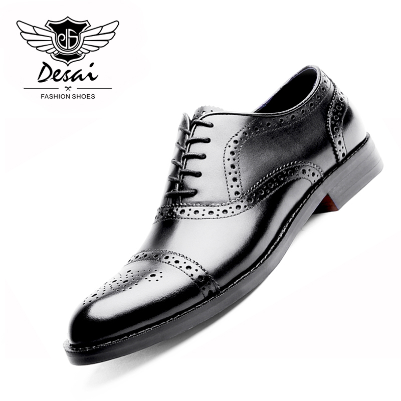 DESAI Brand Genuine Leather Shoes Men Oxfords Shoes British Style Carved Brown Brogue Shoes Lace-Up Bullock Business Men's Flats desai brand genuine leather shoes men oxfords shoes british style carved brown brogue shoes lace up bullock business men s flats