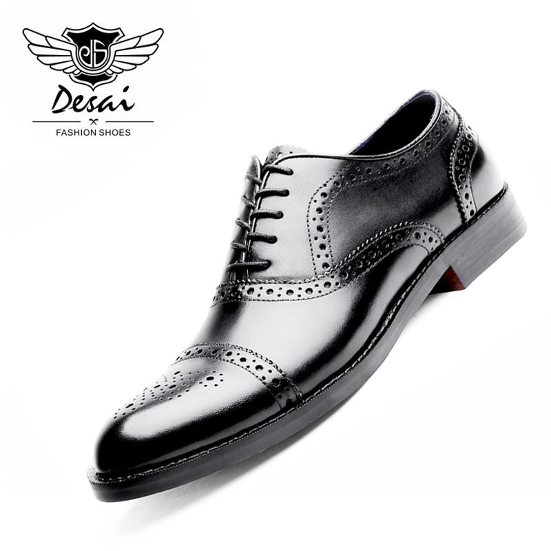 DESAI Genuine Leather Shoes Men Oxford Shoes British Style Carved Black Brogue Shoes Lace-Up Bullock Business Dress Men's Flats