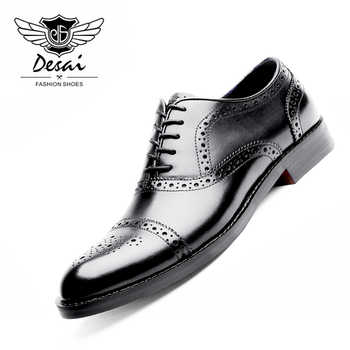 DESAI Genuine Leather Shoes Men Oxford Shoes British Style Carved Black Brogue Shoes Lace-Up Bullock Business Dress Men's Flats - DISCOUNT ITEM  42% OFF All Category