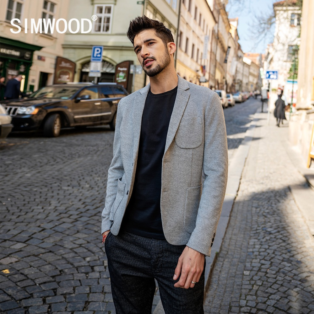 Simwood 2019 New Smart Blazers Men Fashion Suit Casual Slim Fit Blazer Masculino Brand Jackets For Men Free Shipping 180352